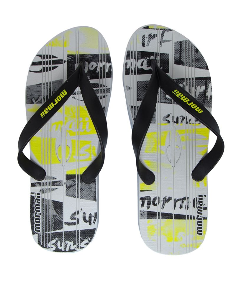 Chinelo Masculino Mormaii Tropical Graphics Branco Preto Amarelo