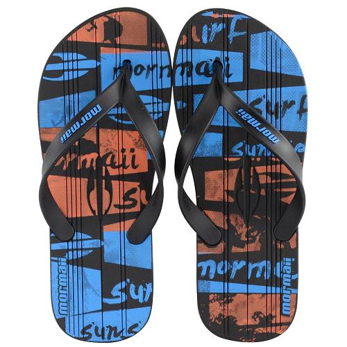 Chinelo Mormaii Masculino Tropical Graphics Preto com Preto e Azul