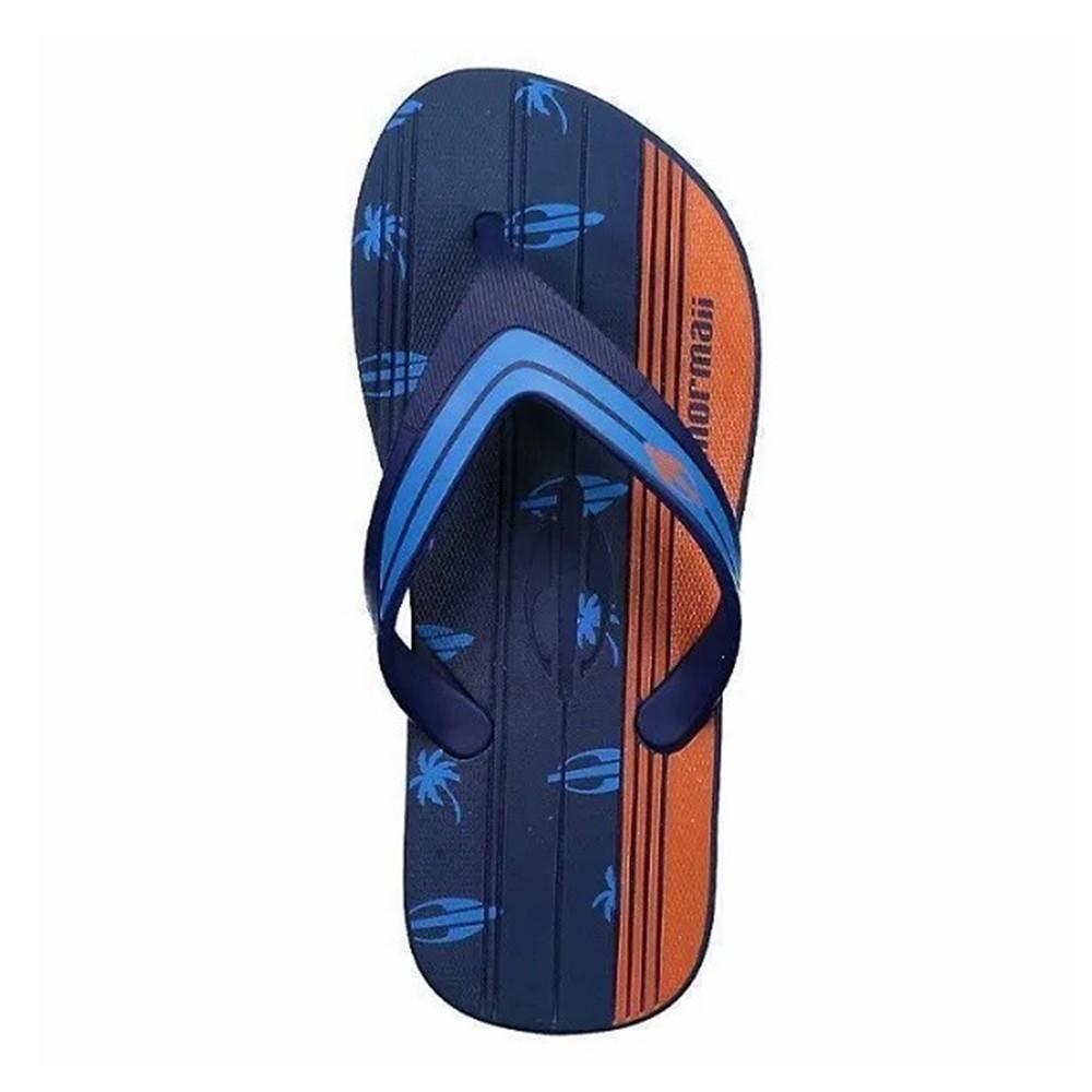 Chinelo Mormaii Masculino Tropical Pro Azul com Azul e Laranja