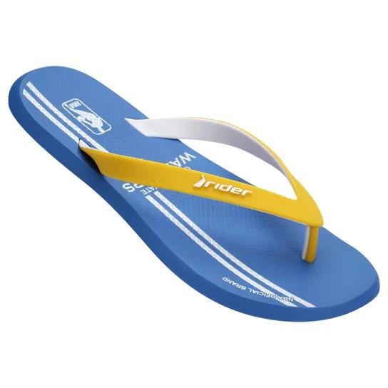Chinelo Rider Masculino R1 NBA AD Azul com Amarelo