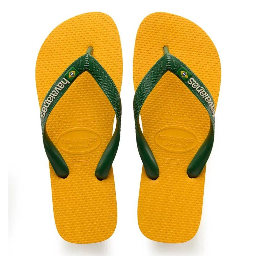 Chinelo Havaianas Unissex Brasil Logo Bandeira Brasil Amarelo Banana