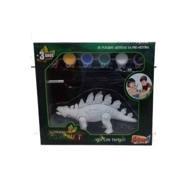 Coleção Dino Paint  Anquilossauro c/ 6 Tintas e Pincel Zoop Toys  ZP00152