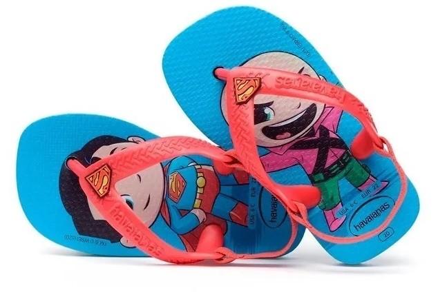 Sandália Havaianas Super Homem e Lex Luthor Bebê New Baby Heróis Turquesa/Vermelho