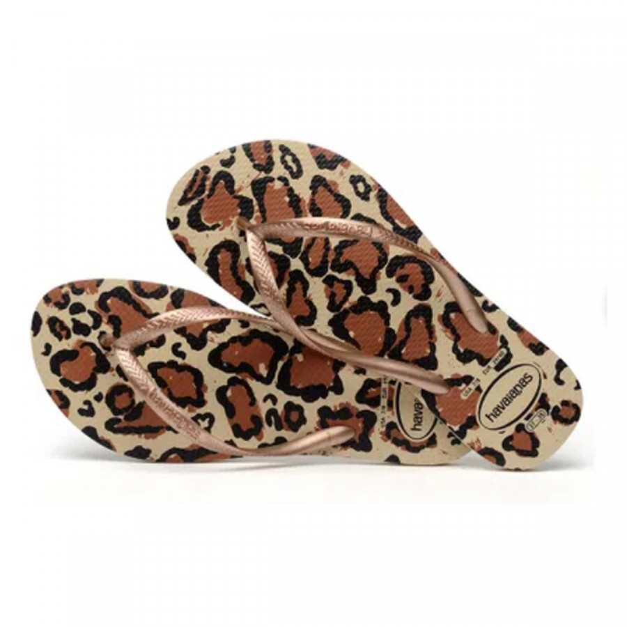 Havaianas Chinelo Feminino Slim Animals Areia/ Rose Gold