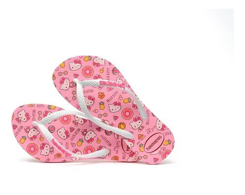 Havaianas Chinelo Infantil Kids Slim Hello Kitty Rosa Macaron