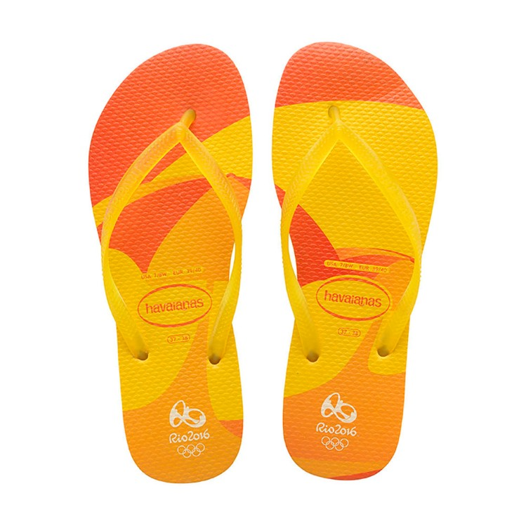 Chinelo Havaianas Feminino Oficial Olimpíadas Rio 2016 Slim Carioca Amarelo Cítrico