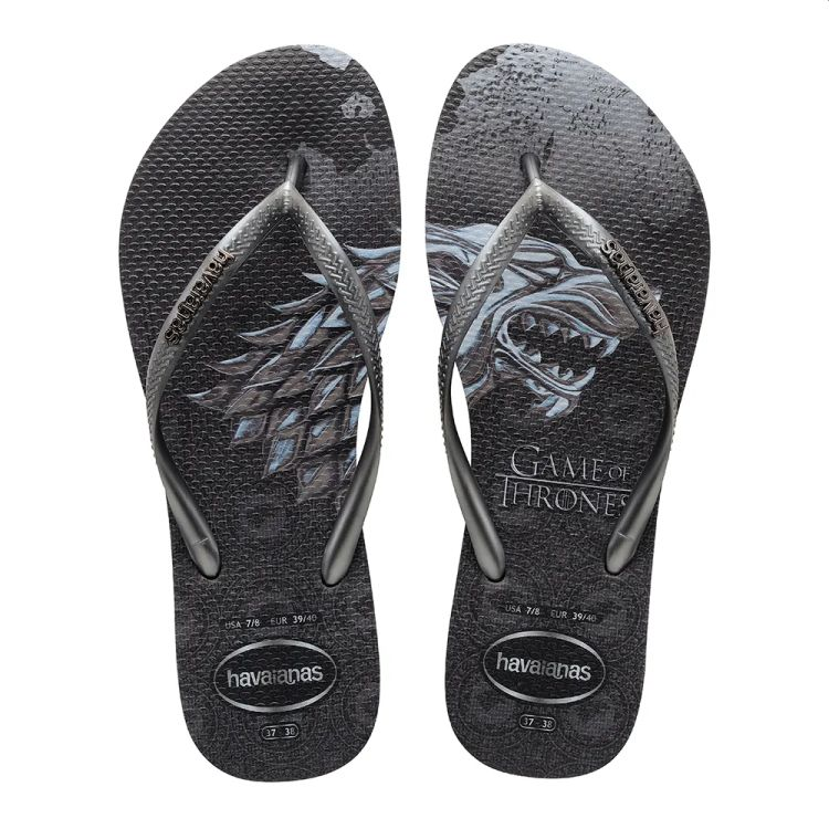 Chinelo Havaianas Feminino Slim Game of Thrones Novo Grafite/Grafite