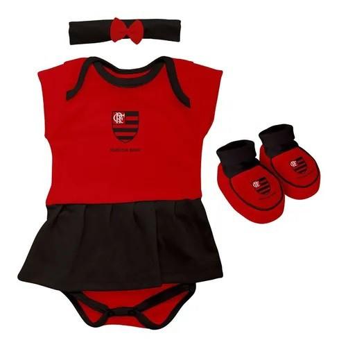 Kit 3 Peças Torcida Baby Body Menina Flamengo Licenciada - 033B
