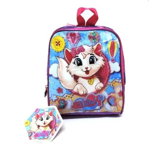 Lancheira Infantil Clio Gatinha Nini NN2047 Rosa com Roxo