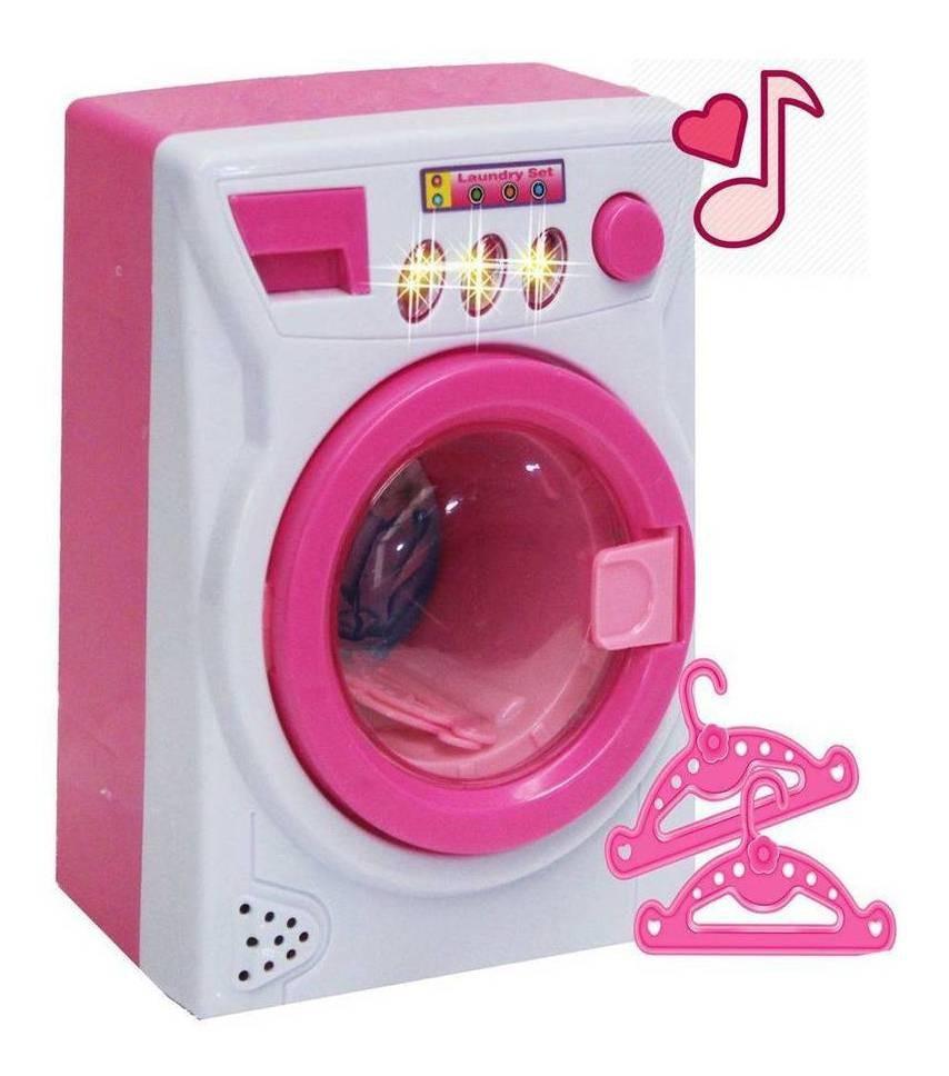 Mini Lavadora Acende Luz Toca Música  Zoop Toys Branco/Rosa ZP00248