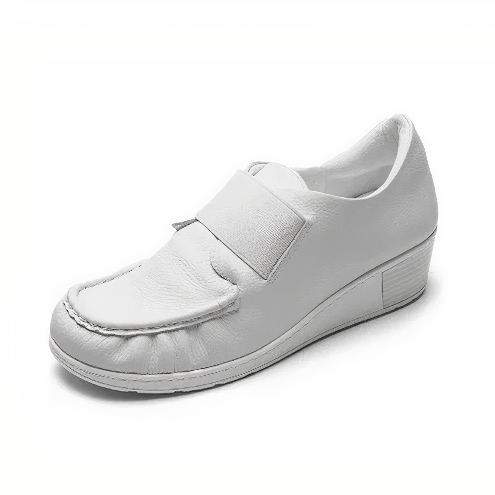 Mocassim Anabelinha Slip On com Elastico Couro Usaflex Liso Branco - AA0208