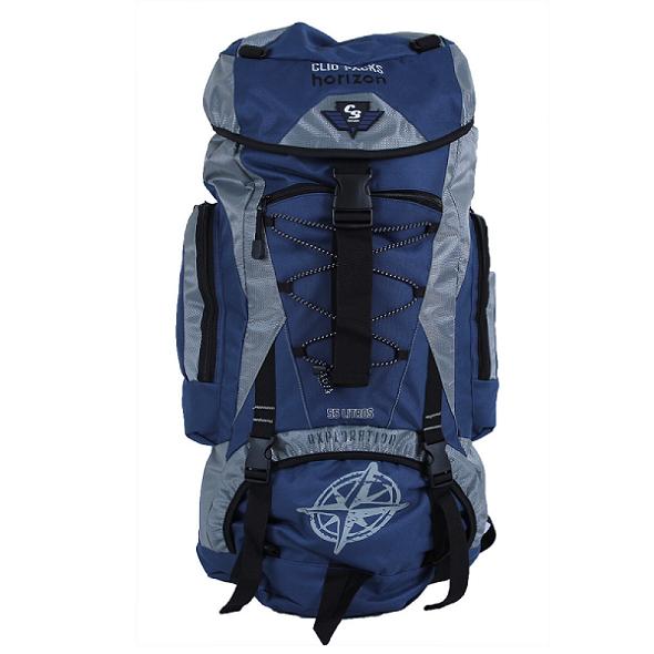 Mochila de Camping 55 Litros Cinza com Azul Clio MC3101