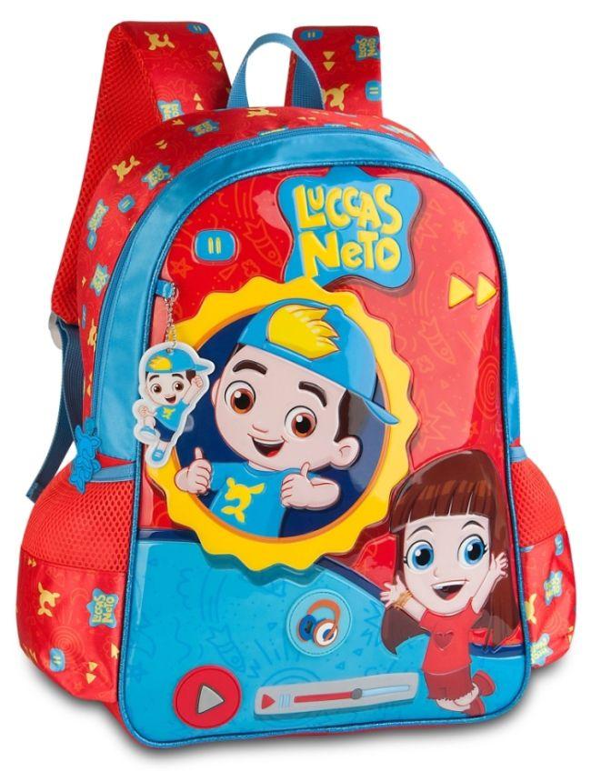 Mochila Clio Infantil Luccas Neto LN9004J Azul com Vermelho