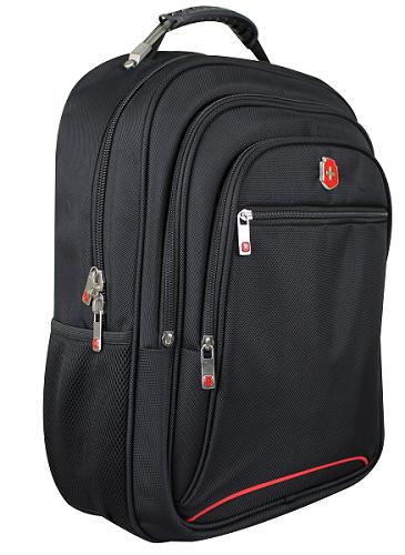Mochila Swissland Executiva com Compartimento para Notebook em Poliester Preta com Vermelho SL04003
