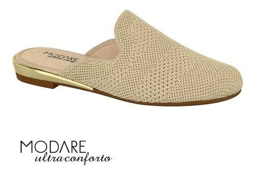 Mule Feminino Modare Linho Bege/Dourado Friso Metalico - 7505208