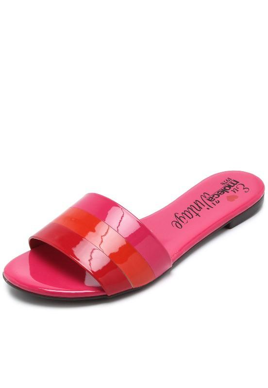 Rasteirinha Feminina Verniz Moleca Pink 5429104