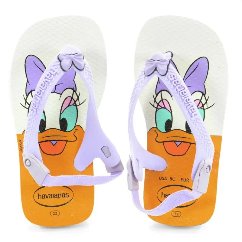 Chinelo Havaianas Baby Disney Classics Branco com Lilás Margarida