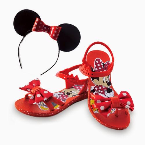 Sandália Grendene Kids Infantil Disney Minnie Magia Vermelho com Vermelho e Branco
