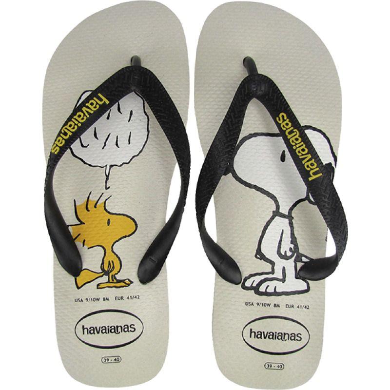 Chinelo Havaianas Unissex Snoopy Branco e Preto