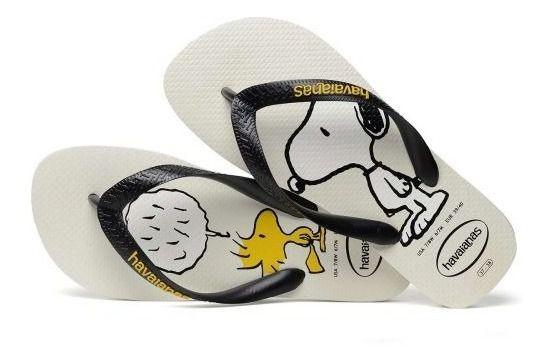 Chinelo Havaianas Original Feminino Masculino Snoopy Branco e Preto