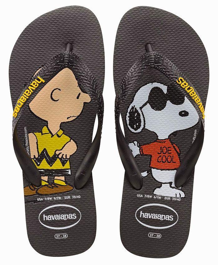 Chinelo Havaianas Unissex Snoopy Charlie Brown Preto