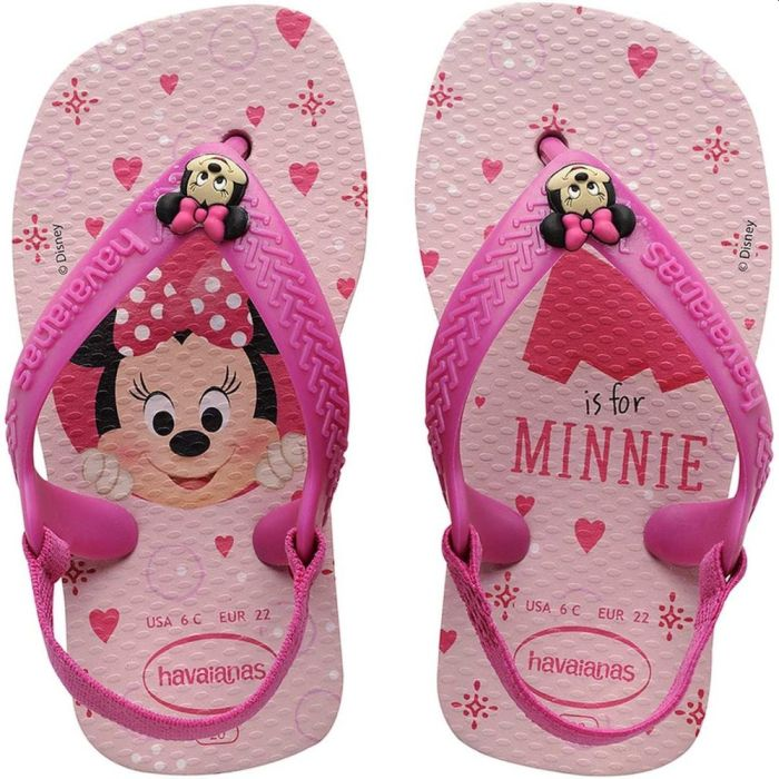 Sandália Minnie Havaianas New Baby Disney Classic Rosa Cream