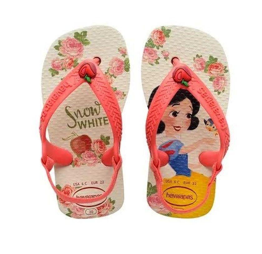 Sandália Havaianas New Baby Disney Princesas Bege Palha Branca de Neve