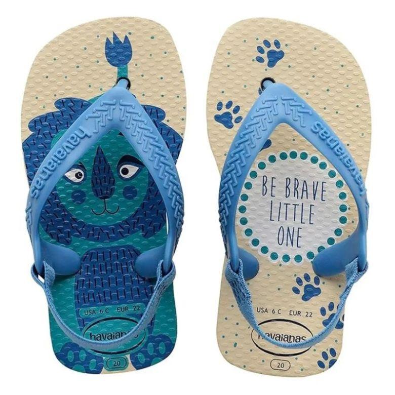 Sandália Bebê Havaianas Infantil New Baby Pets Bege Palha/Azul