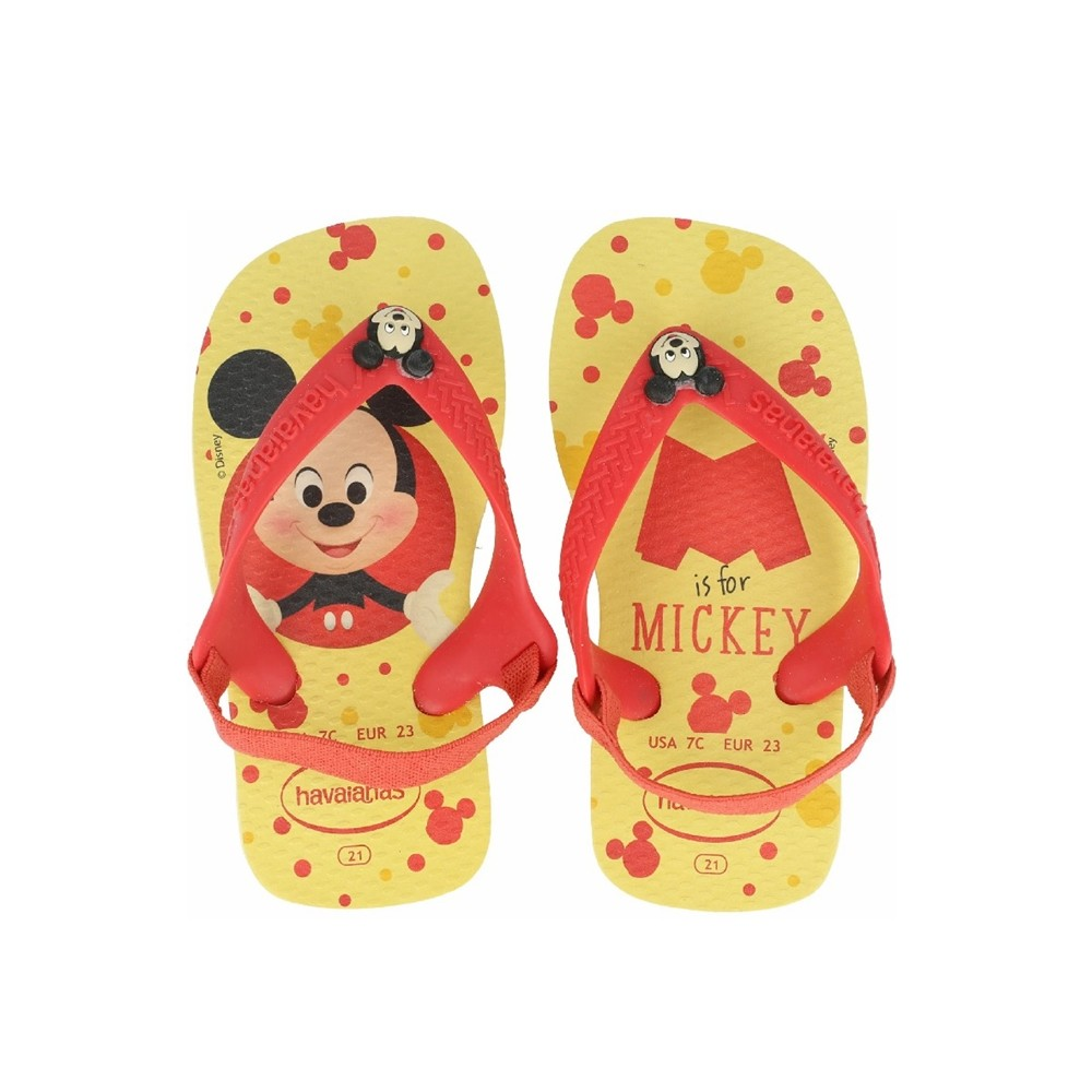 Sandália Havaianas New Baby Disney Classic Amarelo Limao Mickey Mouse