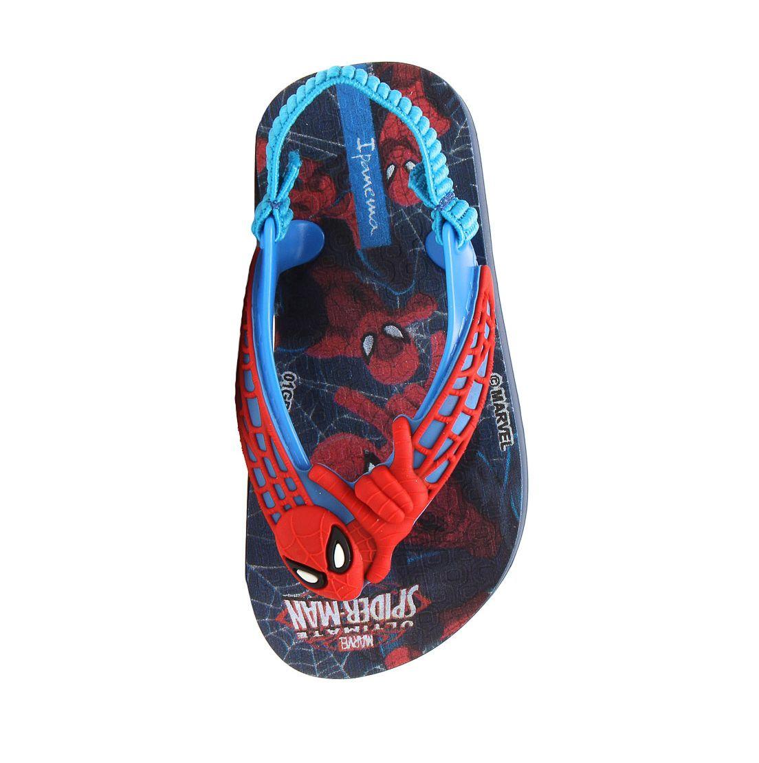 Sandália Homem Aranha Ipanema Bebê com Elástico Marvel Power I Azul com Vermelho
