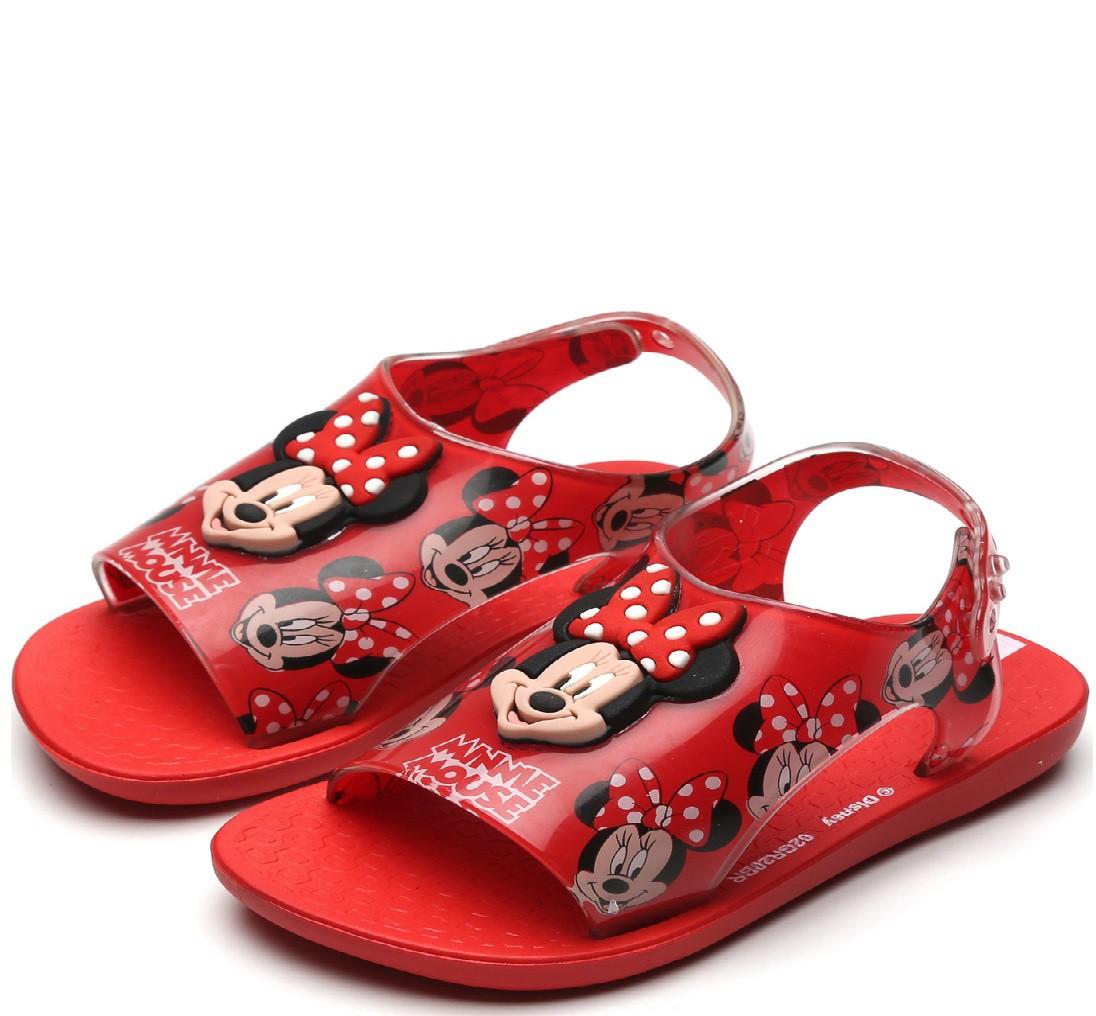 Sandália Minnie Ipanema Infantil Love Disney Vermelho/Vidro