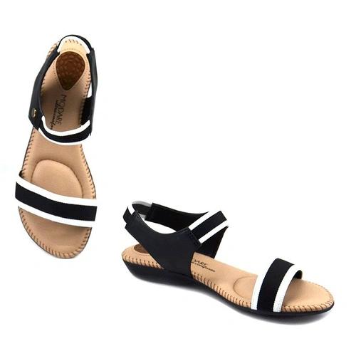 Sandália Modare Feminino Elástico Napa Sense Flex 7025334 Preto com Branco