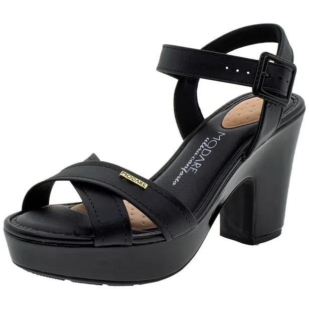 Sandalia Modare Salto Alto Forrado Preto - 7103102