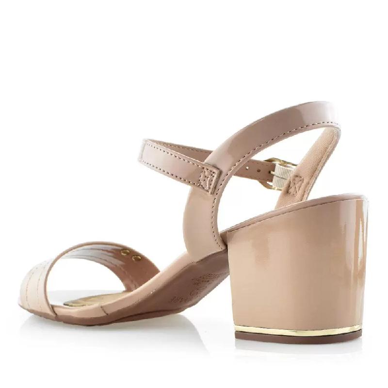Sandália Modare Ultra Conforto Salto Médio Verniz 7109200 Bege