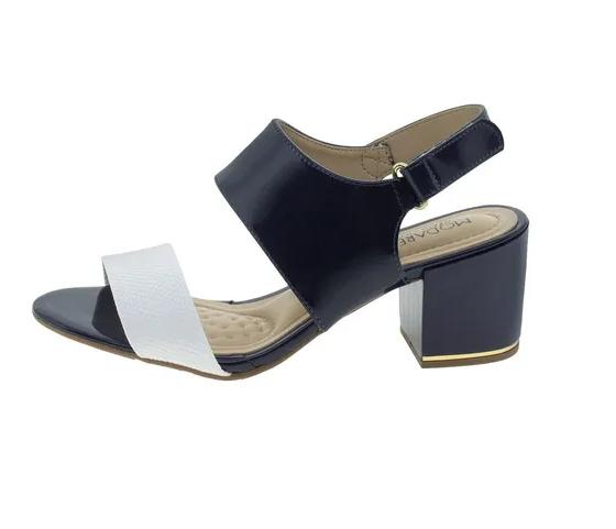 Sandália Modare Ultra Conforto Salto Médio Verniz Cascavel 7109228 Marinho com Branco