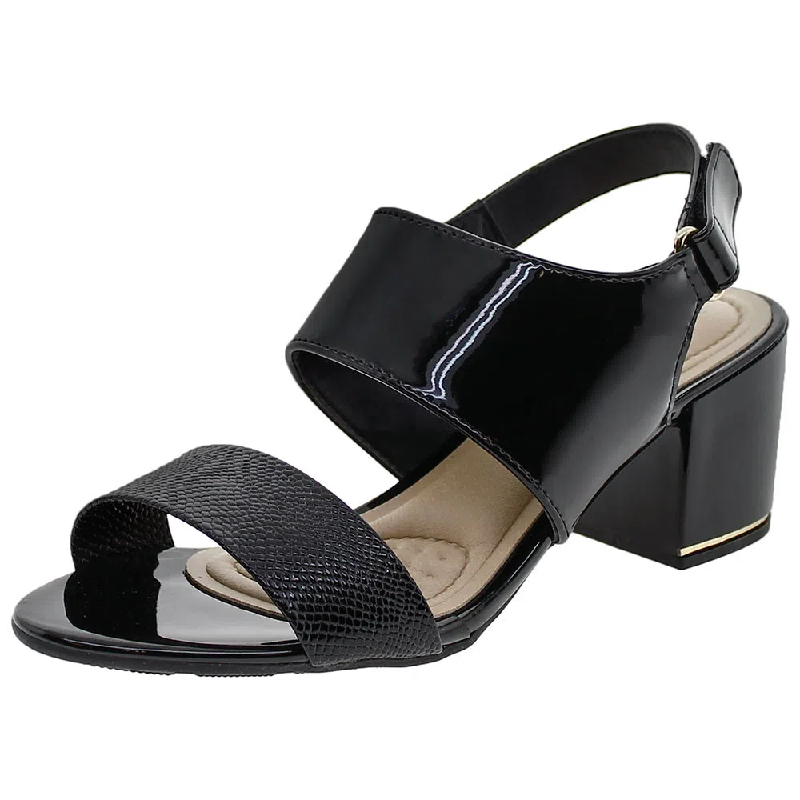 Sandália Modare Ultra Conforto Salto Médio Verniz Cascavel 7109228 Preto