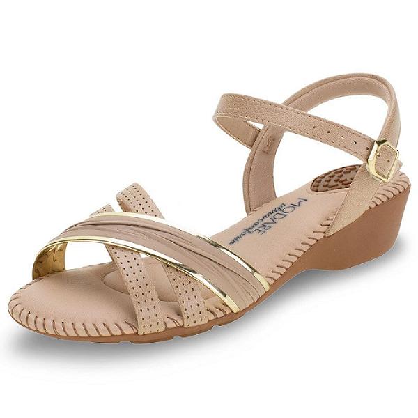 Sandália Modare Ultraconforto Feminino 7017435 Bege com Dourado