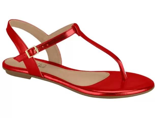 Sandalia Rasteira Beira Rio Metalizado Vermelho 8384203