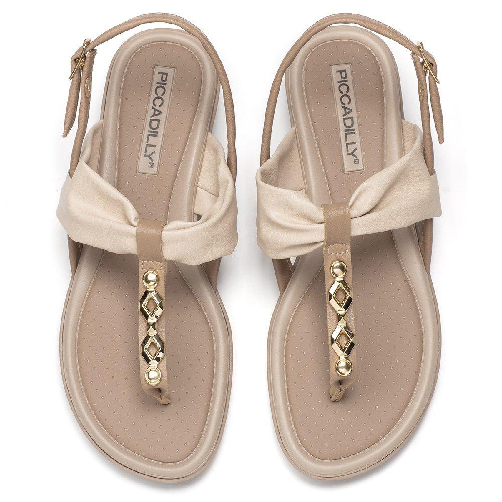 Sandália de Dedo Rasteira Palmilha Confortável Piccadilly Creme/Natural e Sola Areia - 401235