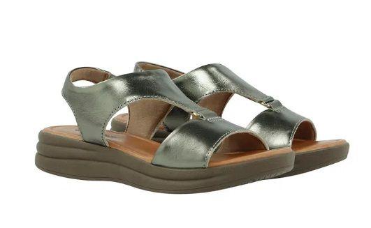 Sandália Usaflex Metalizada em Couro Chumbo - AB7005
