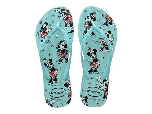 Chinelo Havaianas Feminina Slim Disney Minnie Mouse Ice Blue