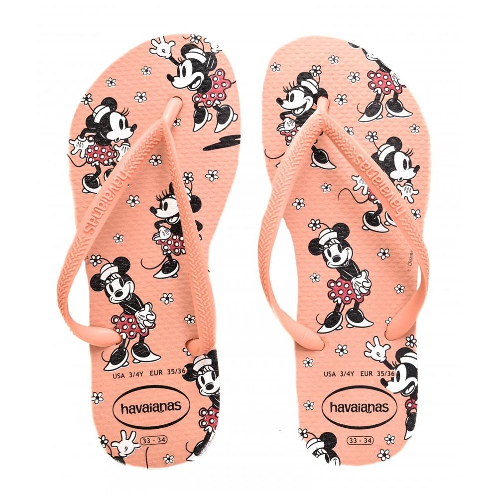 Sandálias Havaianas Feminina Slim Disney Minnie Mouse Rosa Seda