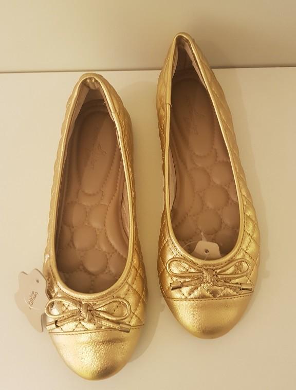Sapatilha Camila Reis Metalasse Confort Couro Ouro - 001CR