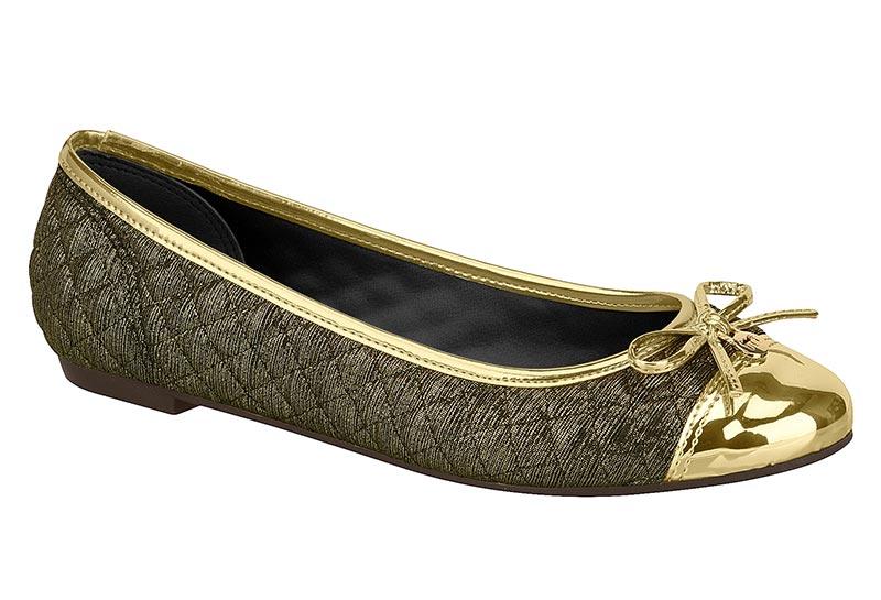 Sapatilha Moleca Feminino Tecido Plissado Shine Metal Glamour 5188538 Multi Ouro com Dourado