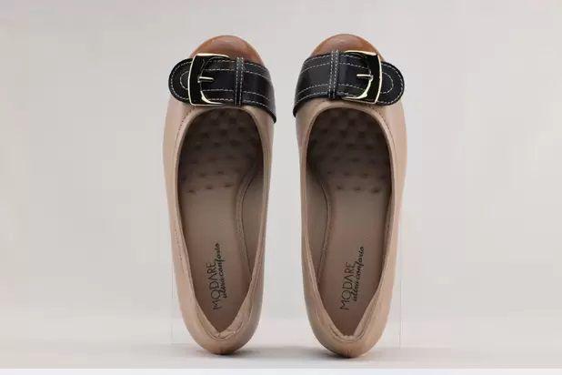 Sapato Anabela Modare Napa Sense Bege/Verniz Premium Camel/Napa Sense Preto - 7036312