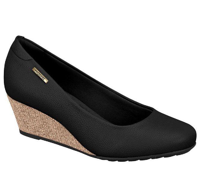 Sapato Anabela Modare Napa Soft Preto Cach Confort - 7054110