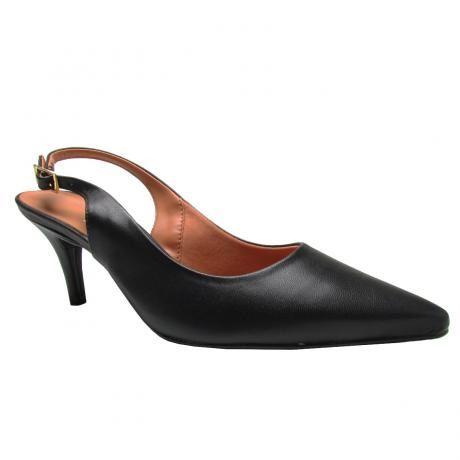 Sapato Chanel Vizzano Salto Médio Forrado Pelica Preto - 1185100