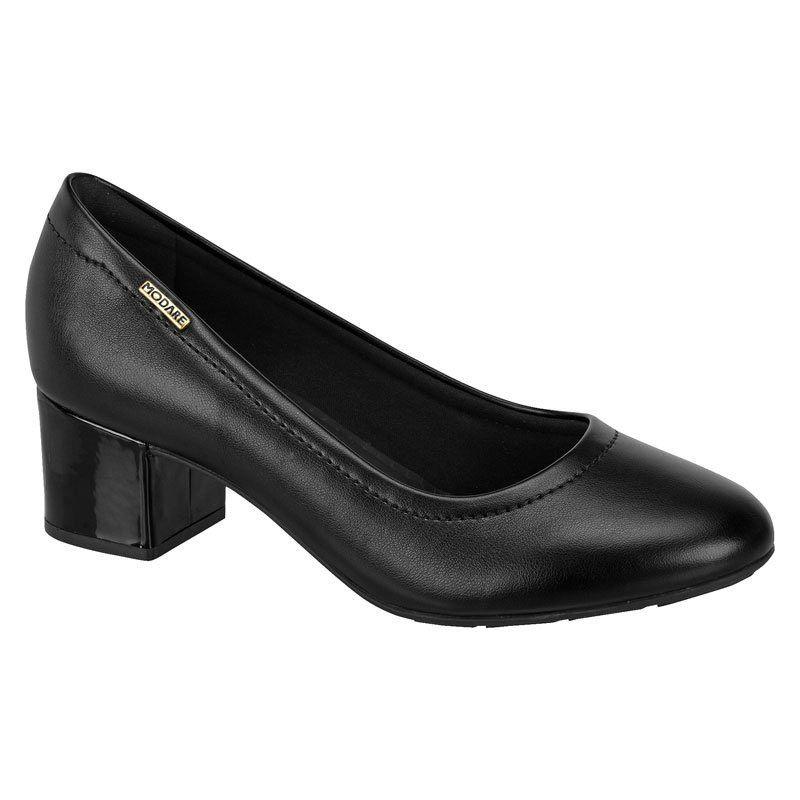 Sapato Feminino Modare Napa Sense Flex Preto Salto Médio em Verniz - 7316109