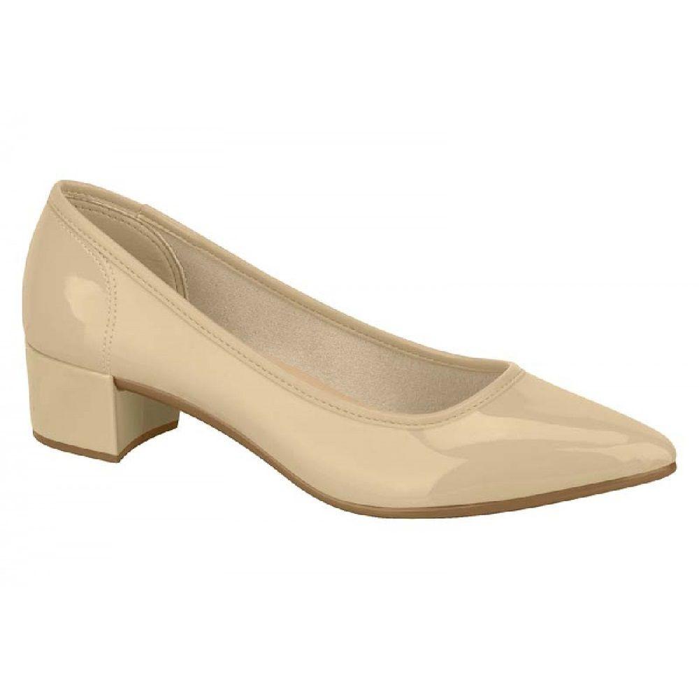Sapato Feminino Moleca Verniz Fresh Neo Bege Salto Baixo Forrado 5662100