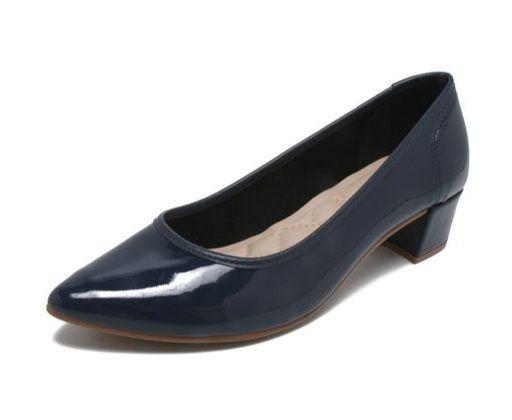 Sapato Feminino Moleca Verniz Fresh Neo Marinho Salto Baixo Forrado 5662100